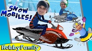 Mountain SNOW Tubing! Motor Mobiles + Make Snowman, Winter Fun w.HobbyKids Sledding HobbyFamilyTV