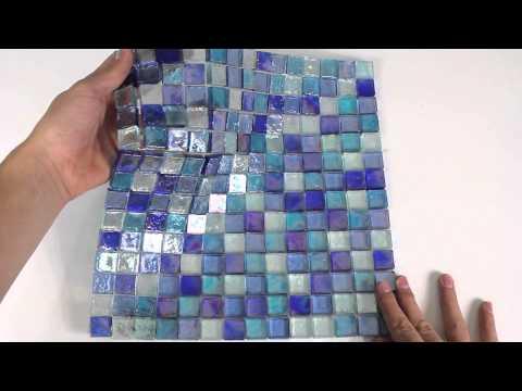 Iridescent Glass Mosaic Tile Cobalt Blend 1x1 - 120KELU11BL4