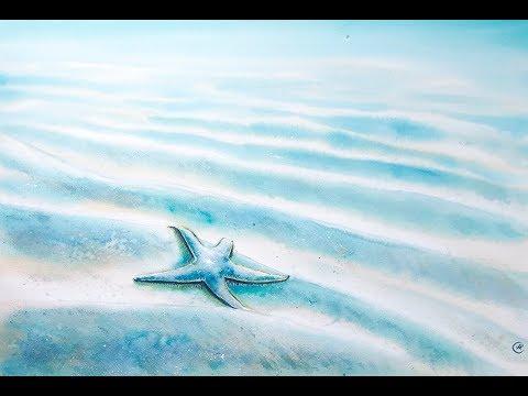 Watercolor Blue Starfish Painting Demo