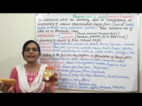 Pharmaceutical Aids (Natural Excipients)- Introduction, Classifications with Examples (HINDI)