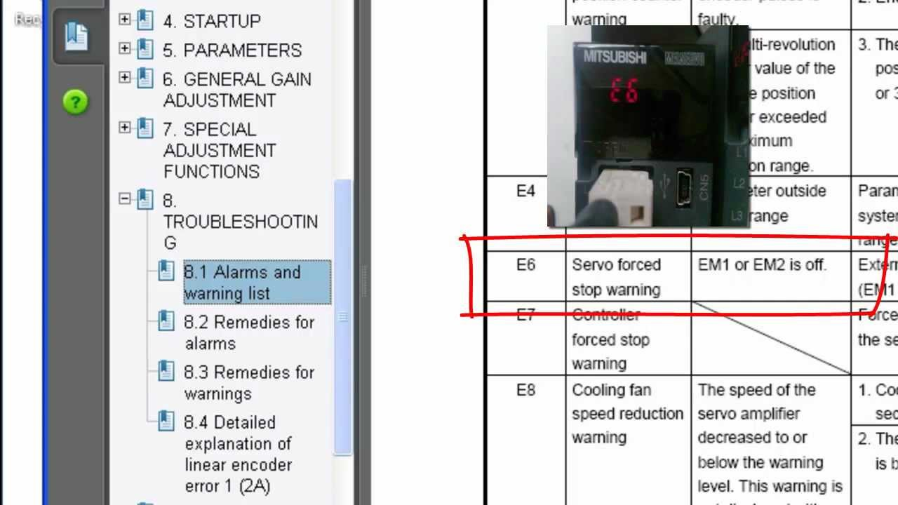 Quick Tips - Clearing an E6 Warning on Servo Amplifier