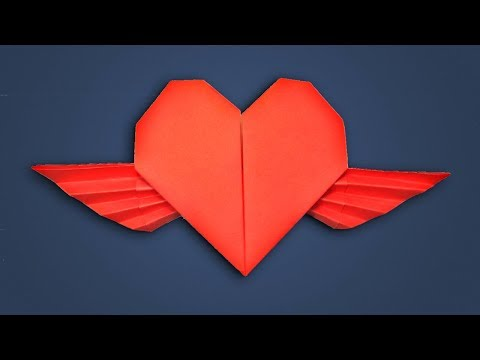 How to Make Paper Heart With Wings for Valentine's Day - Origami Winged Heart