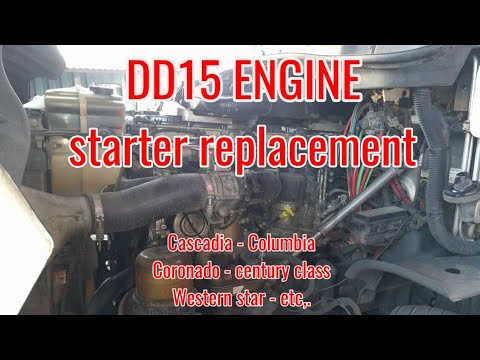 Freightliner Cascadia DD13 DD15 ENGINE Starter Removal Replacement OM 471 OM 472