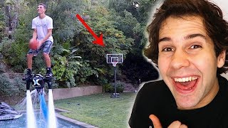 BACKWARDS JET PACK BASKETBALL TRICK SHOT!!