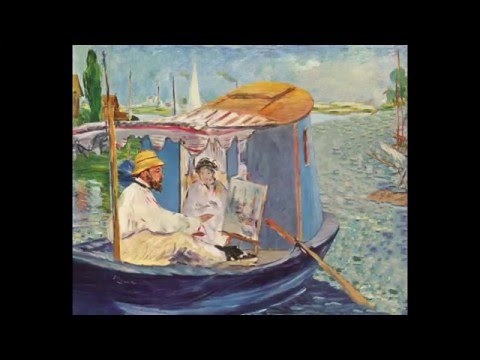 Manet - Monet painting on his studio boat, 1874
