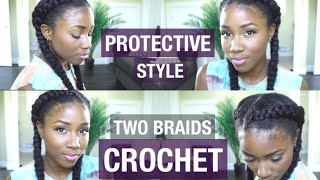 BACK TO SCHOOL HAIR STYLE | PROTECTIVE NATURAL HAIR STYLE |  TWO BRAIDS | CROTCHET BRAID TUTORIAL