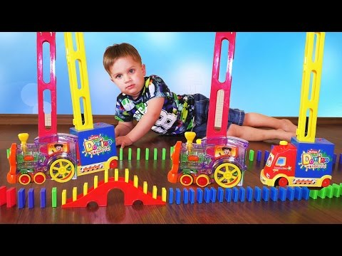 ★ 200 Domino Rally Racing set train and car unboxing chain reaction screeenlink