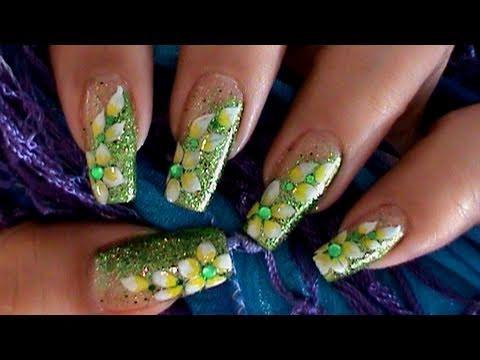 Green Glitter Flower Nail Art Design Tutorial Youtube