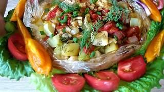 Щука с овощами в рукаве.