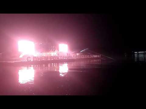 Лазерное шоу с концертом на плавучей сцене ко Дню Тюменской области