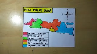 Peta indonesia blank, peta, tangan, satu warna, wallpaper komputer png. Cara Membuat Gambar Peta Pulau Jawa Youtube