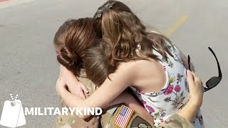 Army mom's reunion with daughters ends in joyful barf | Militarykind