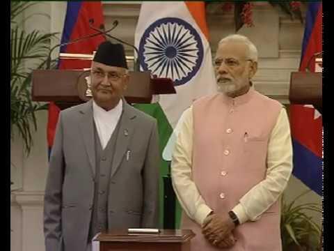 PM Modi & Nepal's PM KP Oli at the Joint Press Statement & inauguration of Development Projects