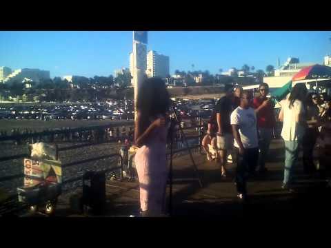 Lana singing at Santa Monica Pier to Madison from Madison Media Radio Pt.4