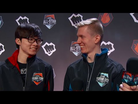 Faker and Froggen talk potential Anivia mirror match + more Faker English! :) | All-Stars 2015