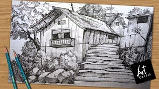How to Draw and Shade Hill Station Village Landscape | Drawing Tutorial