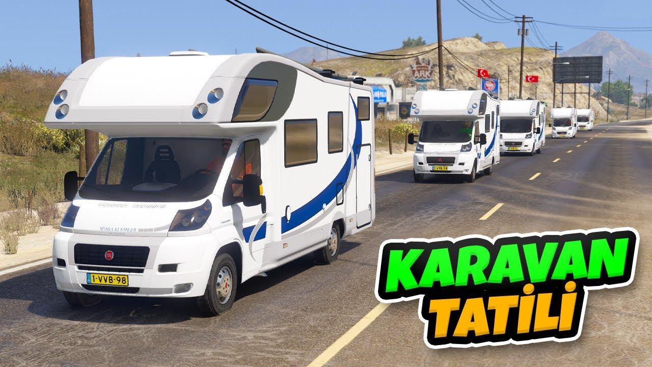 Karavan Arabalar ile Konvoy Yaparak Tatile Gidiyoruz - GTA 5
