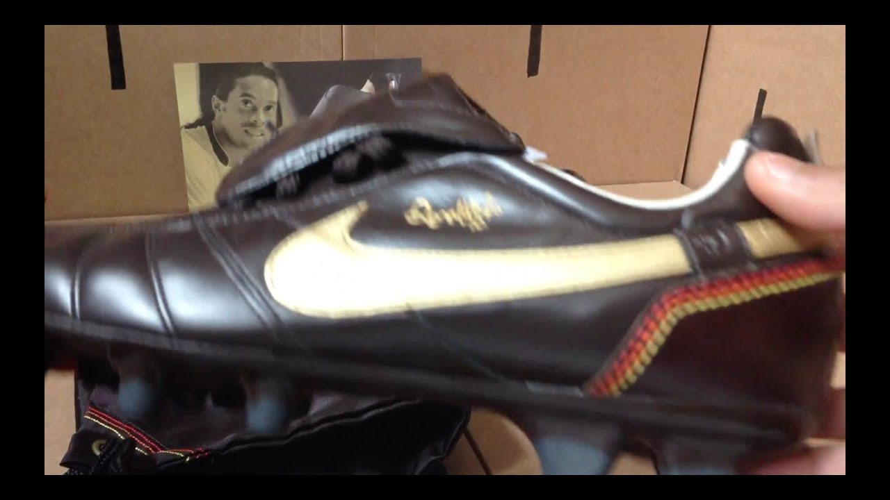 d728ad4c65a Nike Tiempo Ronaldinho Brown FG Soccer Cleats R10 s - YouTube