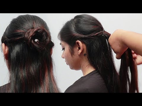 Latest Beautiful Hairstyles For Wedding Party Simple Half Bun Hairstyles Wedding Guest Hairstyle Viral Chop Video