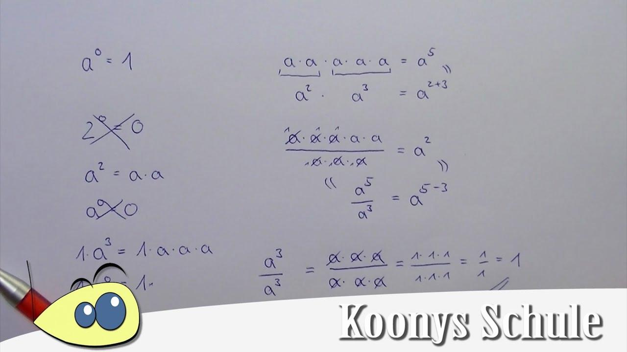 a⁰ = 1, alles hoch null ist gleich eins, Herleitung - YouTube