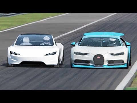 Bugatti Chiron vs Tesla Roadster  – Monza