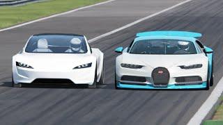 bugatti Chiron vs Tesla Roadster  - Monza
