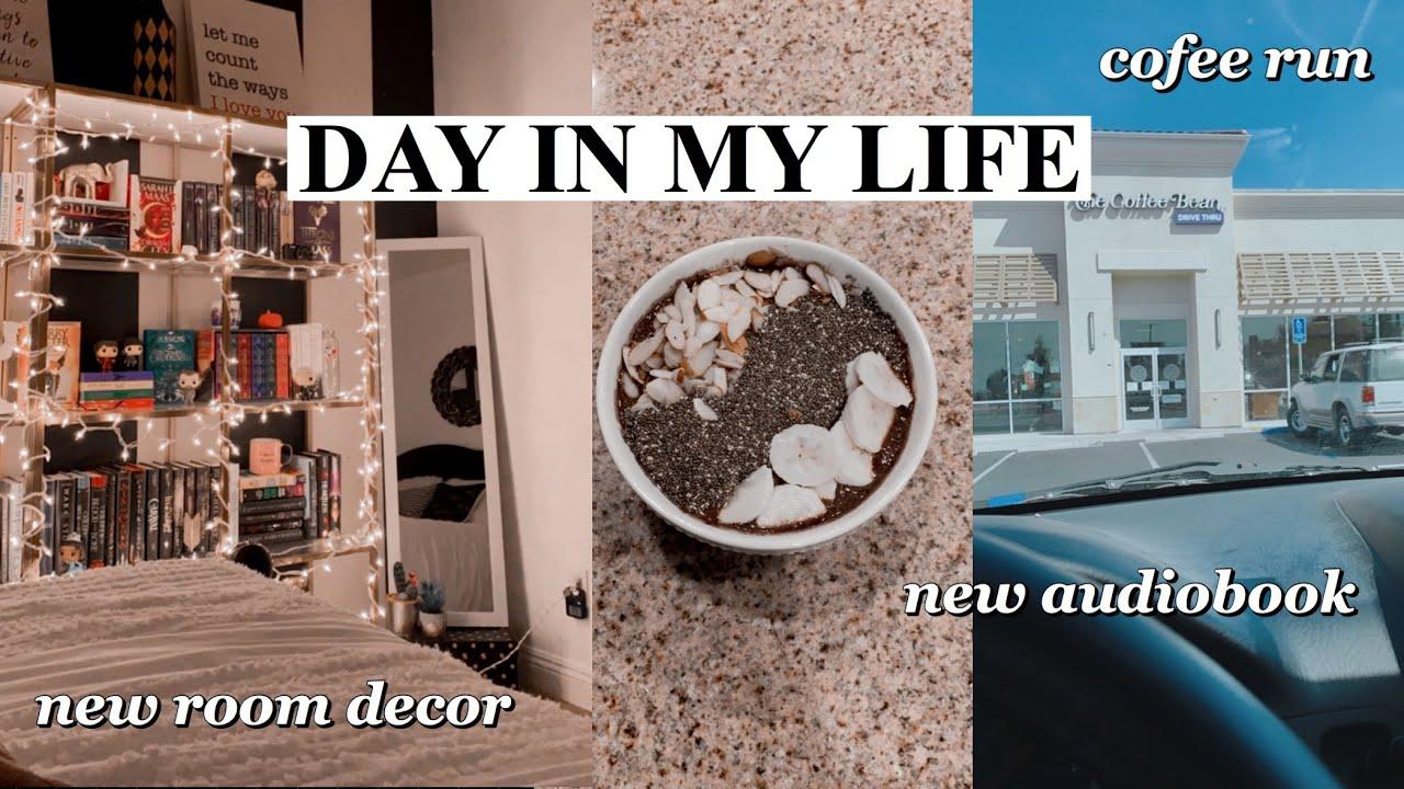 room decor, coffee run, grocery haul, new audiobook