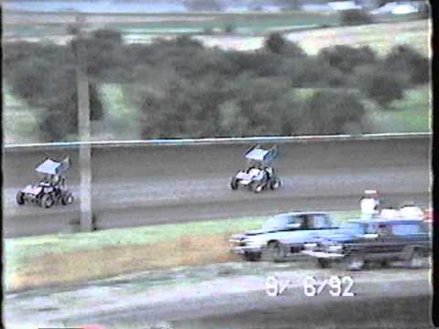 NCRA Sprint Cars Hot Laps at Belleville High Banks in 1992