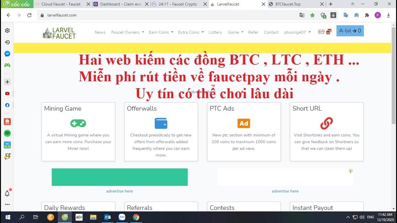 Hai web xem quảng cáo và claim kiếm BTC , miễn phí , rút tiền về ví faucetpay mỗi ngày .