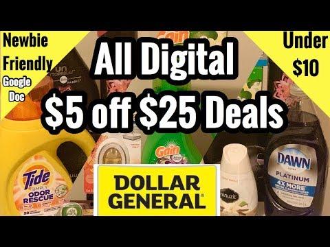 Dollar General   ALL DIGITAL $5 Off $25 Couponing Deals   3 Breakdowns Under $10! 🙌🏽