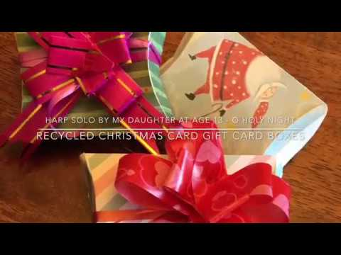 DIY Gift Box Puff Paper Envelopes from Recycled Christmas or Birthday Cards (O Holy Night harp solo)