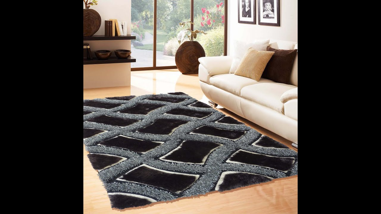 soft shag indoor living room area rug in black by rug addiction