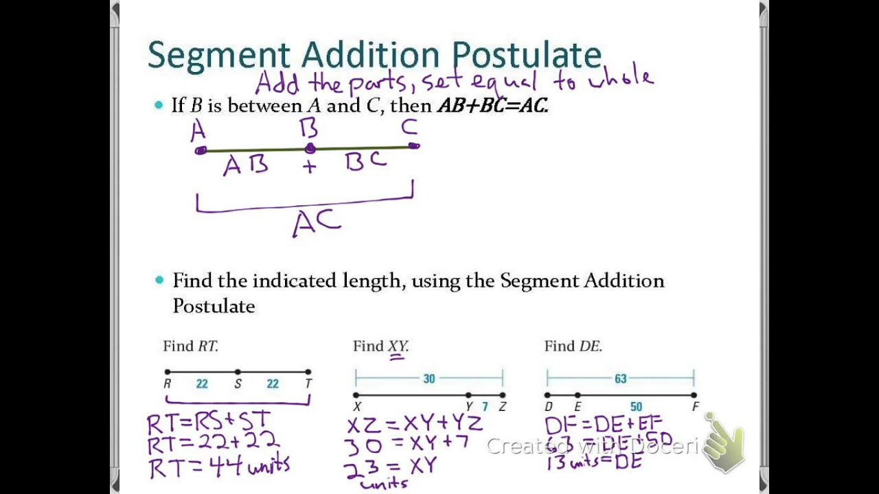 Worksheets Segment Addition Postulate Worksheet sec 1 2 use segments and congruence youtube