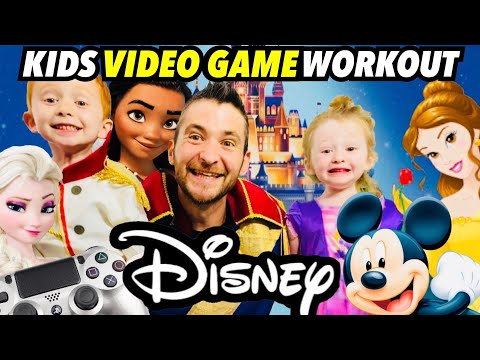 Kids Workout! DISNEY! Real-Life VIDEO GAME! Kids Workout Videos, DANCE, FITNESS, & TOY SURPRISE!