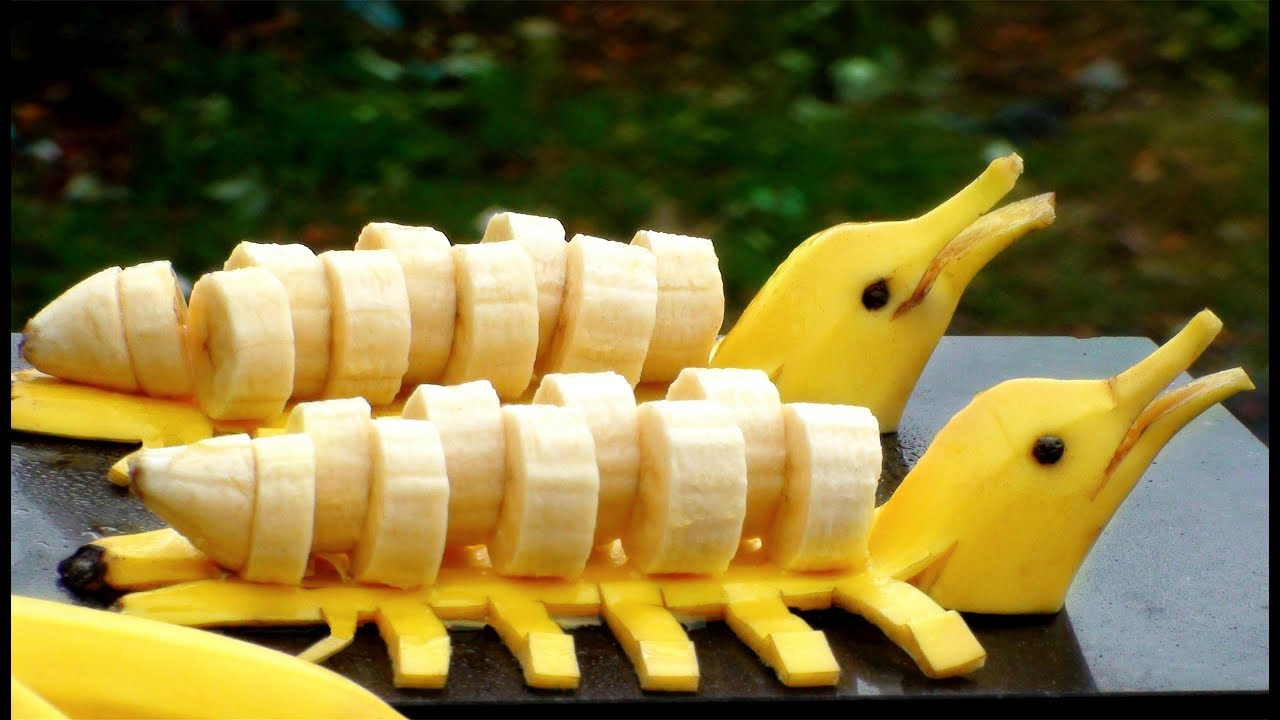How to make banana decoration banana art fruit carving for Apples decoration