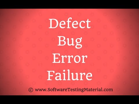 Defect Bug Error Failure - Difference in Software Testing