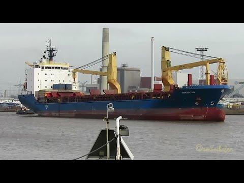 cargo crane seaship MICHIGAN V2EK5 IMO 9501241 lockbound Emden tug assisted timelapse