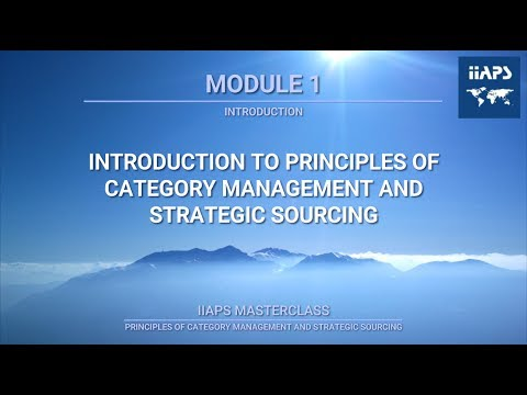 Module 1 - An Introduction to the Principles of Category Management & Strategic Sourcing