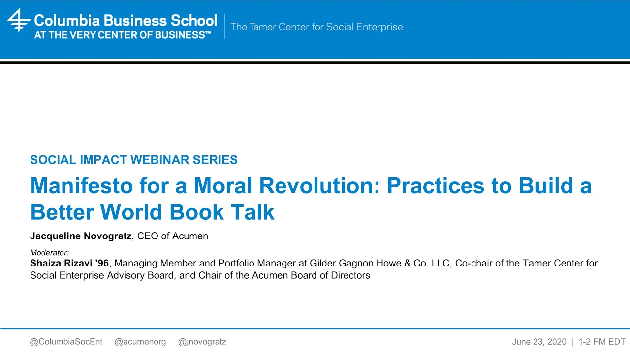 Book Talk, Manifesto for a Moral Revolution: Practices to Build a Better World