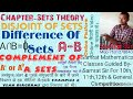 Sets theory: Disjoint Sets, Difference Sets & Complement Sets, Mathematics, Dec 5, 2017 # Samrat Sir