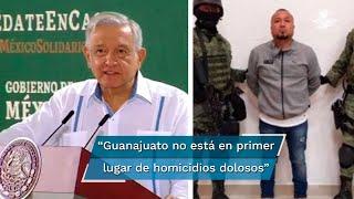 El presidente López Obrador señaló que Guanajuato ya no está en el primer lugar de las entidades donde más homicidios dolosos se cometen al día