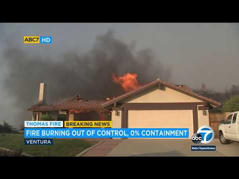 Thomas Fire explodes to 45K acres as homes burn in Ventura County   ABC7