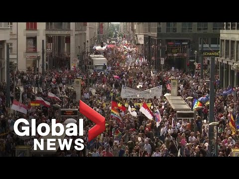 Coronavirus: Thousands Protest Against COVID-19 Measures In Berlin