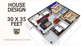 house design 30 x 35 feet one side shared wall