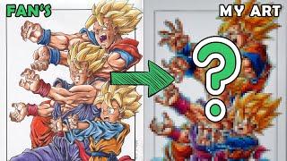 Drawing Goku, Gohan and Goten Family Kamehameha | Redraw fan's Drawing