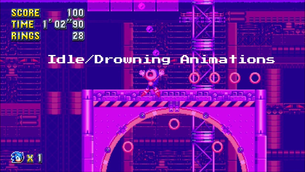 Sonic Mania - All Idle and Drowning Sprite Animations