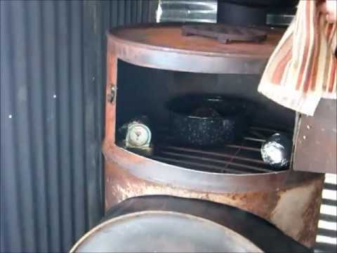Barrel Stove Wood Heater Oven Cooking Demonstration