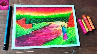 How to draw village woman carrying water in sunset ( easy step)