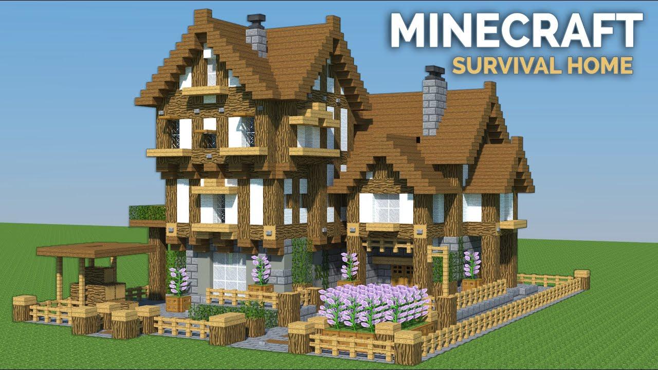Minecraft: WOODEN house tutorial (survival house tutorial)