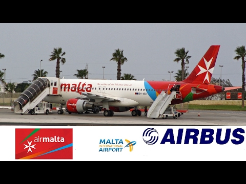 Air Malta A320-214 9H-AEQ departing runway 13 Malta Luqa Airport 2017